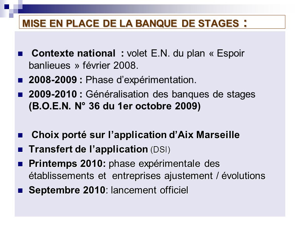 MISE EN PLACE DE LA BANQUE DE STAGES : Contexte national : volet E.N.
