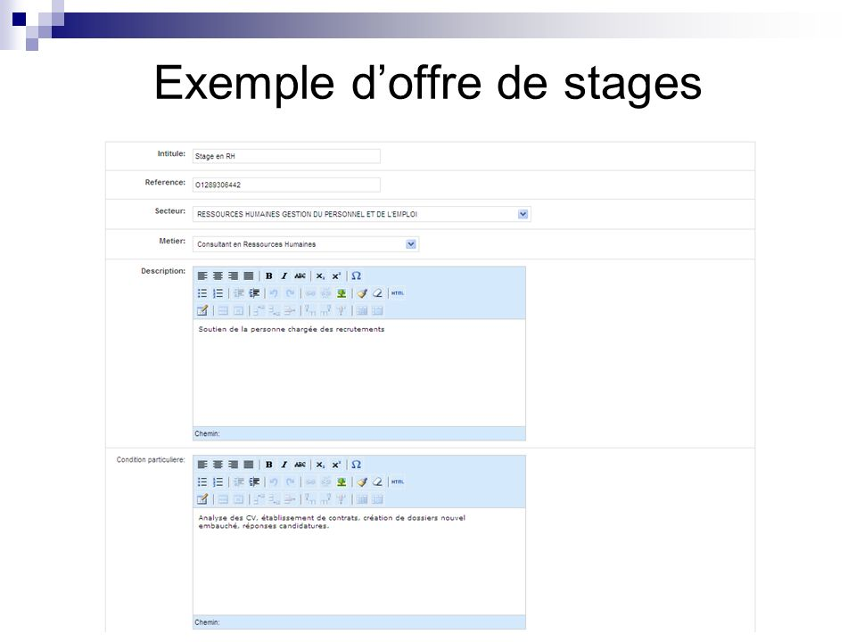 Exemple doffre de stages