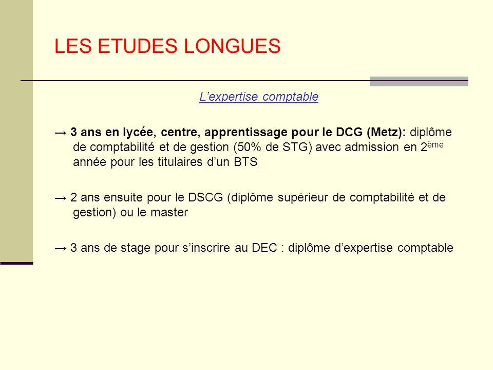 LES ETUDES LONGUES Lexpertise comptable 3 ans en lycée, centre, apprentissage pour le DCG (Metz): diplôme de comptabilité et de gestion (50% de STG) a