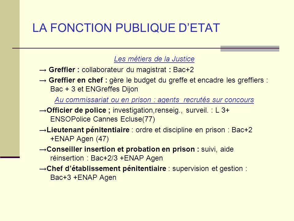 LA FONCTION PUBLIQUE DETAT Les métiers de la Justice Greffier : collaborateur du magistrat : Bac+2 Greffier en chef : gère le budget du greffe et enca