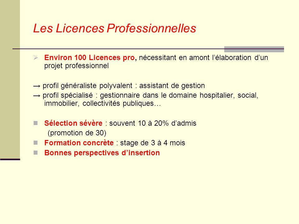 Les Licences Professionnelles Environ 100 Licences pro, nécessitant en amont lélaboration dun projet professionnel profil généraliste polyvalent : ass