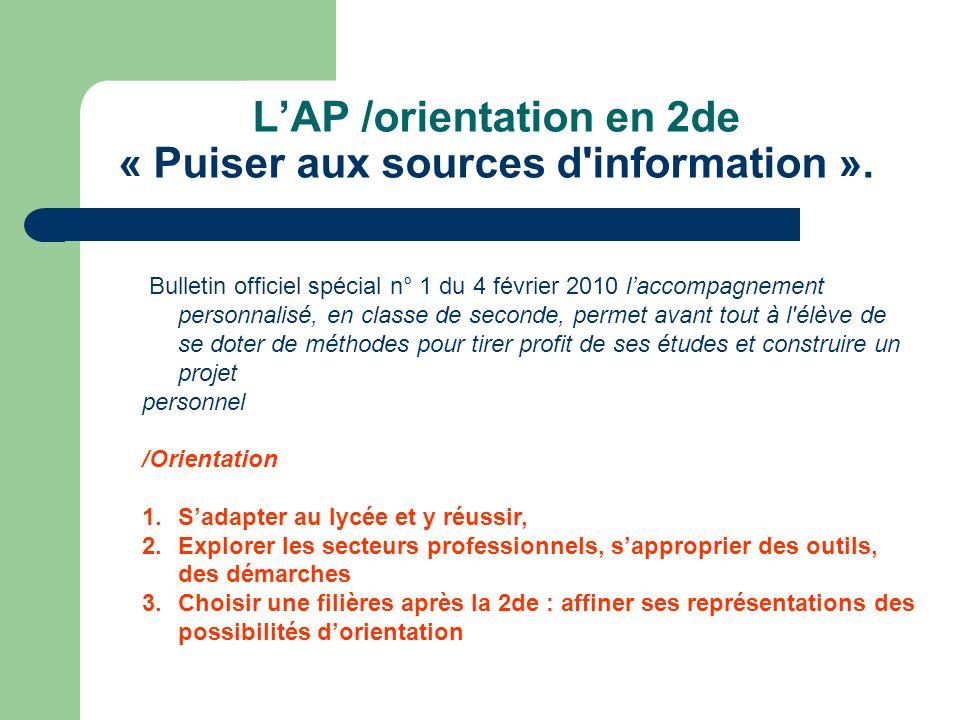 LAP /orientation en 2de « Puiser aux sources d information ».