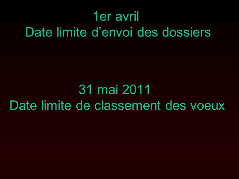 1er avril Date limite denvoi des dossiers 31 mai 2011 Date limite de classement des voeux