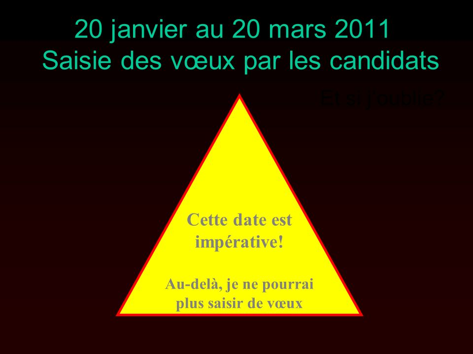 20 janvier au 20 mars 2011 Saisie des vœux par les candidats Et si joublie.