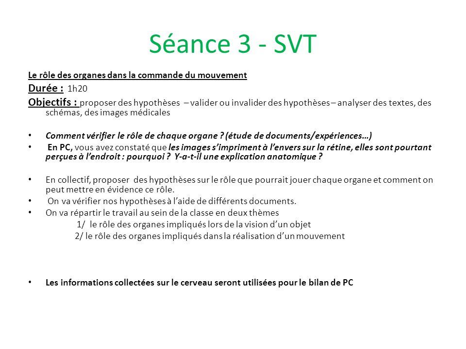 Séance 3 - SVT Le rôle des organes dans la commande du mouvement Durée : 1h20 Objectifs : proposer des hypothèses – valider ou invalider des hypothèse