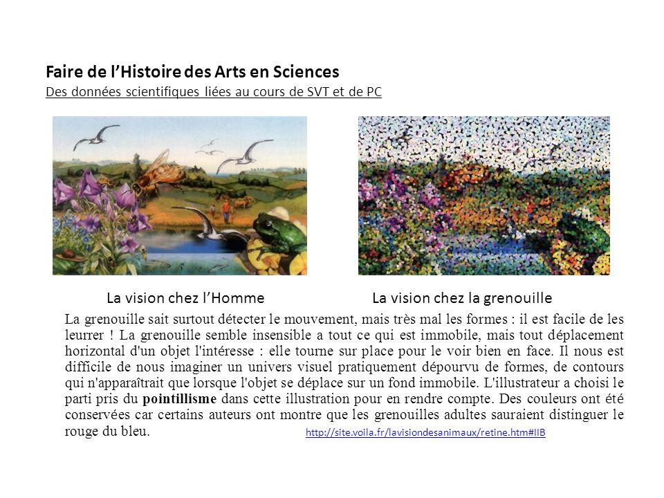Faire de lHistoire des Arts en Sciences Des données scientifiques liées au cours de SVT et de PC La vision chez lHommeLa vision chez la grenouille La