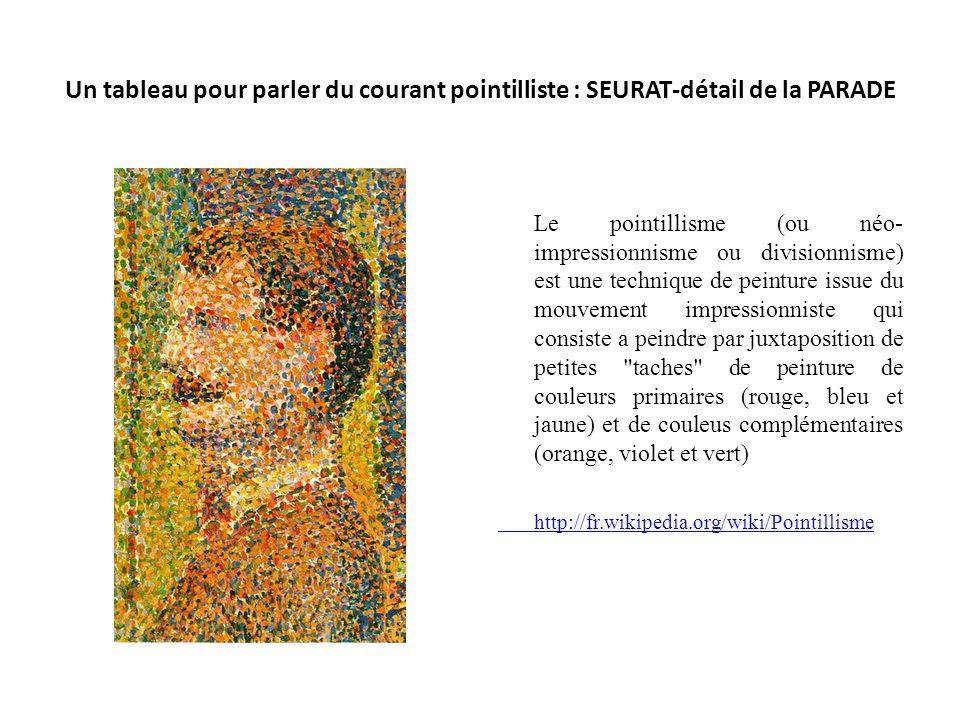 Un tableau pour parler du courant pointilliste : SEURAT-détail de la PARADE Le pointillisme (ou néo- impressionnisme ou divisionnisme) est une techniq