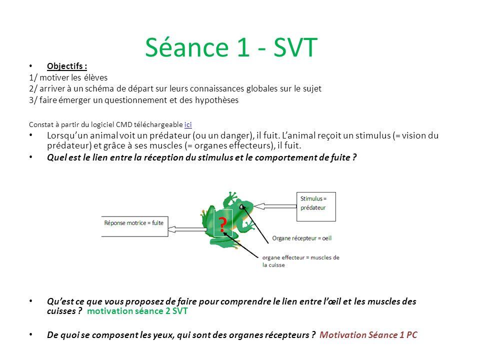 Séance 1 - SVT Objectifs : 1/ motiver les élèves 2/ arriver à un schéma de départ sur leurs connaissances globales sur le sujet 3/ faire émerger un qu