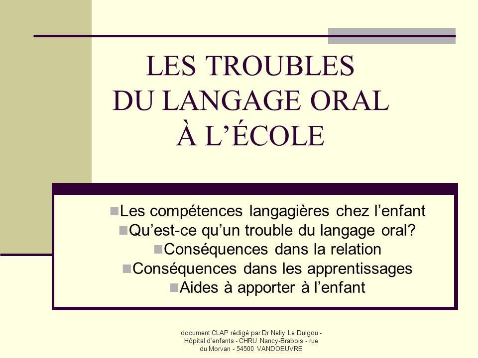 document CLAP rédigé par Dr Nelly Le Duigou - Hôpital d'enfants - CHRU Nancy-Brabois - rue du Morvan - 54500 VANDOEUVRE LES TROUBLES DU LANGAGE ORAL À