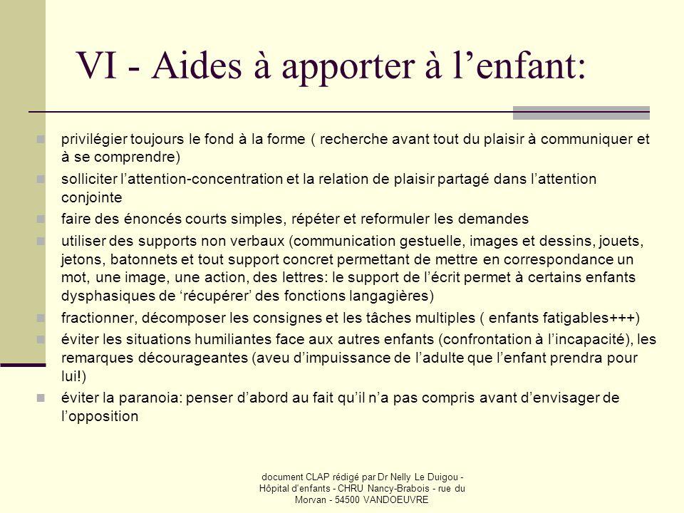 document CLAP rédigé par Dr Nelly Le Duigou - Hôpital d'enfants - CHRU Nancy-Brabois - rue du Morvan - 54500 VANDOEUVRE VI - Aides à apporter à lenfan