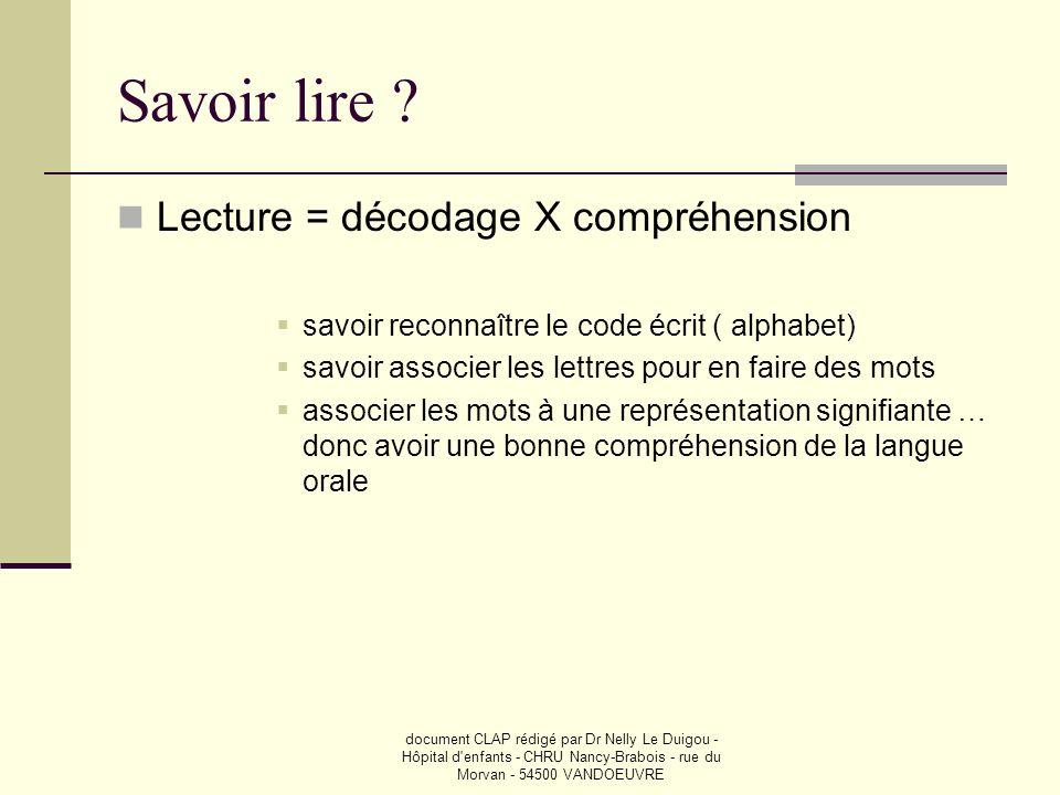 document CLAP rédigé par Dr Nelly Le Duigou - Hôpital d'enfants - CHRU Nancy-Brabois - rue du Morvan - 54500 VANDOEUVRE Savoir lire ? Lecture = décoda
