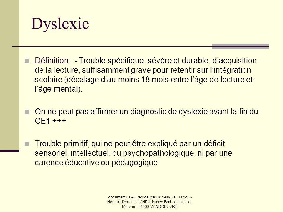 document CLAP rédigé par Dr Nelly Le Duigou - Hôpital d'enfants - CHRU Nancy-Brabois - rue du Morvan - 54500 VANDOEUVRE Dyslexie Définition: - Trouble