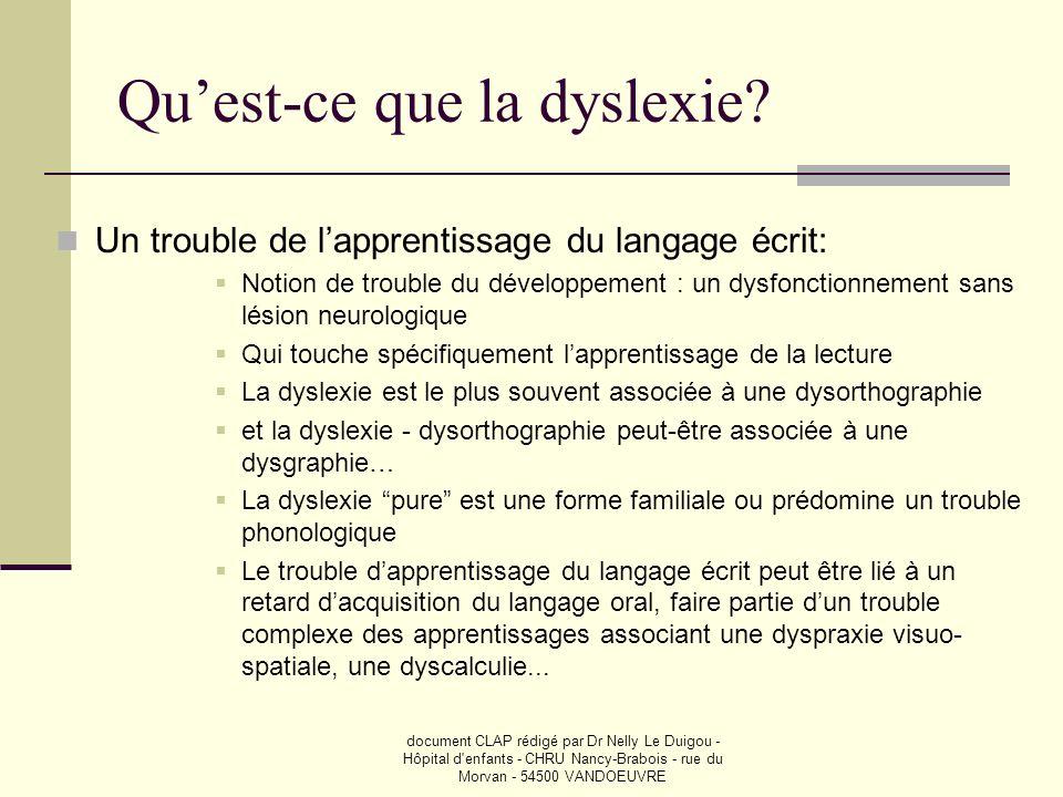 document CLAP rédigé par Dr Nelly Le Duigou - Hôpital d'enfants - CHRU Nancy-Brabois - rue du Morvan - 54500 VANDOEUVRE Quest-ce que la dyslexie? Un t