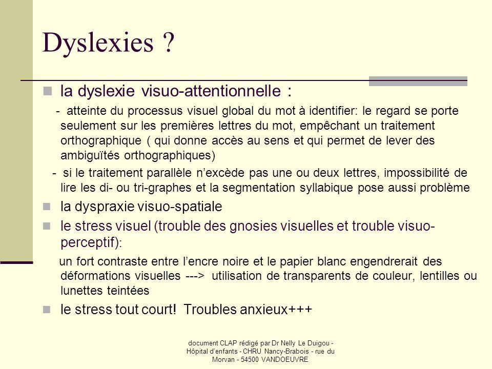 document CLAP rédigé par Dr Nelly Le Duigou - Hôpital d'enfants - CHRU Nancy-Brabois - rue du Morvan - 54500 VANDOEUVRE Dyslexies ? la dyslexie visuo-