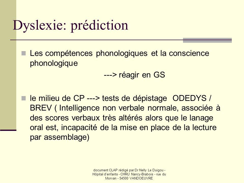 document CLAP rédigé par Dr Nelly Le Duigou - Hôpital d'enfants - CHRU Nancy-Brabois - rue du Morvan - 54500 VANDOEUVRE Dyslexie: prédiction Les compé