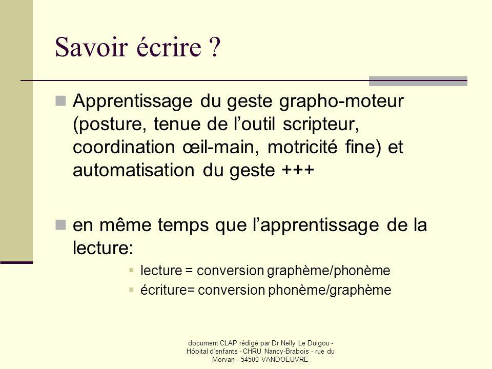 document CLAP rédigé par Dr Nelly Le Duigou - Hôpital d'enfants - CHRU Nancy-Brabois - rue du Morvan - 54500 VANDOEUVRE Savoir écrire ? Apprentissage