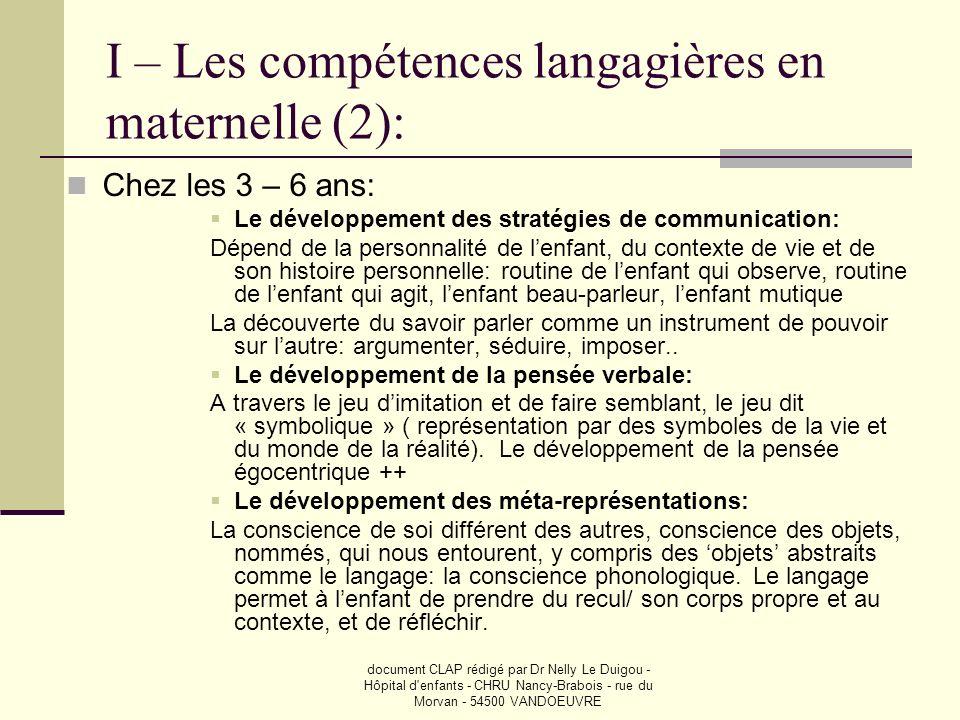 document CLAP rédigé par Dr Nelly Le Duigou - Hôpital d enfants - CHRU Nancy-Brabois - rue du Morvan - 54500 VANDOEUVRE Même en compensant….