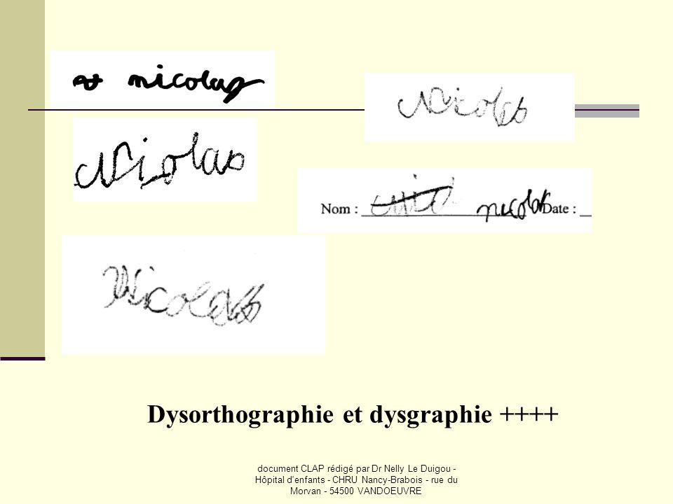 document CLAP rédigé par Dr Nelly Le Duigou - Hôpital d'enfants - CHRU Nancy-Brabois - rue du Morvan - 54500 VANDOEUVRE Dysorthographie et dysgraphie