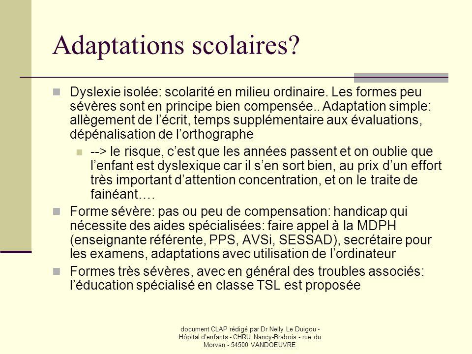 document CLAP rédigé par Dr Nelly Le Duigou - Hôpital d'enfants - CHRU Nancy-Brabois - rue du Morvan - 54500 VANDOEUVRE Adaptations scolaires? Dyslexi