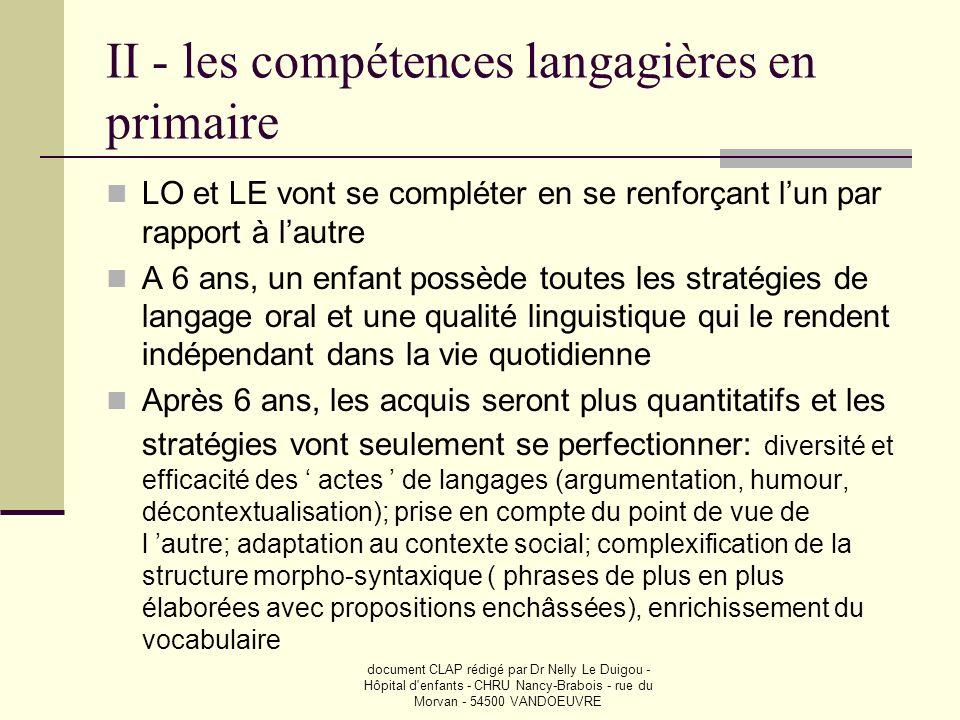 document CLAP rédigé par Dr Nelly Le Duigou - Hôpital d'enfants - CHRU Nancy-Brabois - rue du Morvan - 54500 VANDOEUVRE II - les compétences langagièr