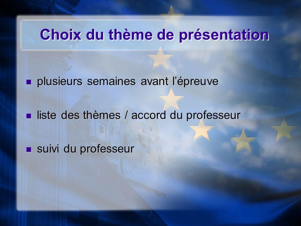 Choix du thème de présentation plusieurs semaines avant lépreuve liste des thèmes / accord du professeur suivi du professeur plusieurs semaines avant
