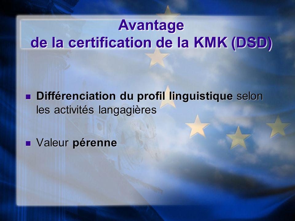 Avantage de la certification de la KMK (DSD) Différenciation du profil linguistique selon les activités langagières Valeur pérenne Différenciation du