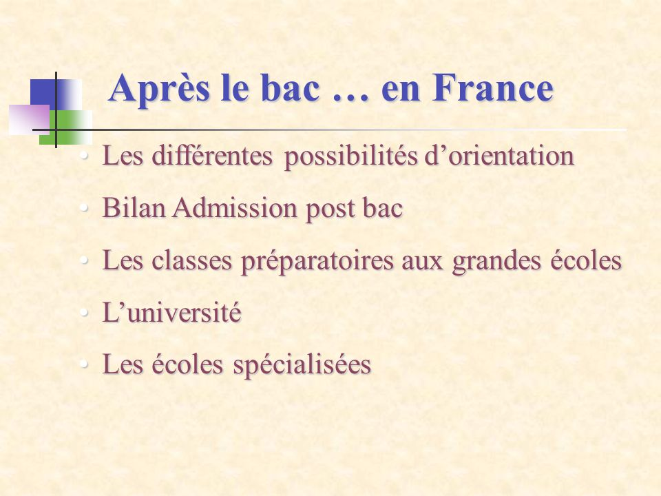 Après le bac … en France Les différentes possibilités dorientationLes différentes possibilités dorientation Bilan Admission post bacBilan Admission po