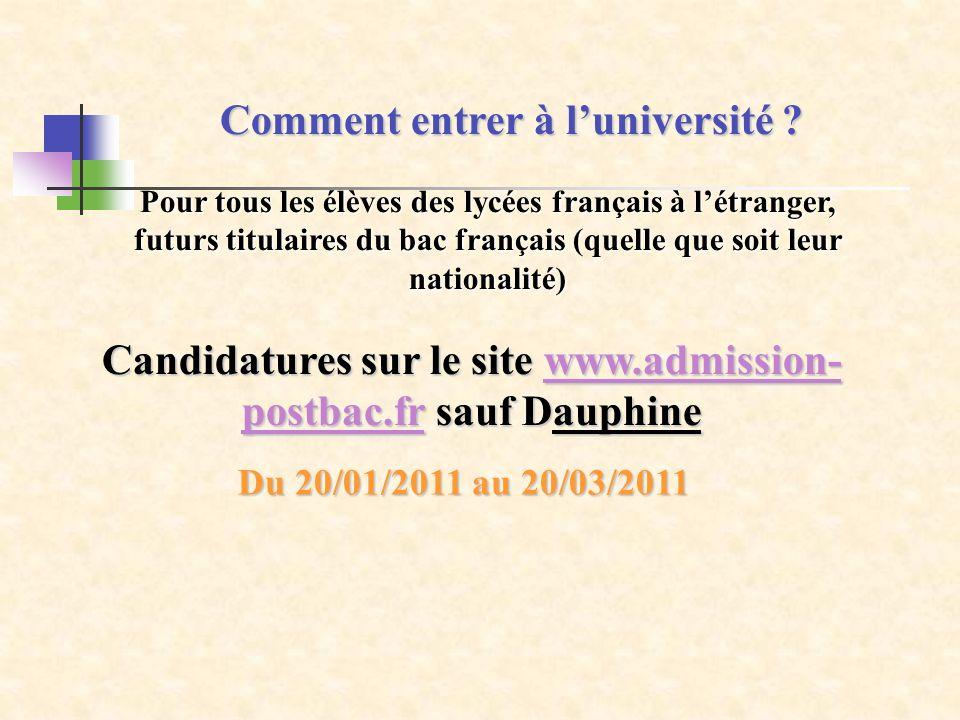 Comment entrer à luniversité ? Pour tous les élèves des lycées français à létranger, futurs titulaires du bac français (quelle que soit leur nationali