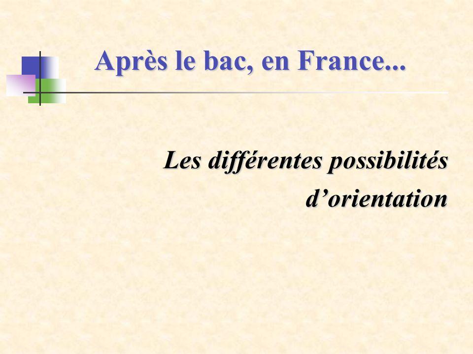Après le bac, en France... Les différentes possibilités dorientation dorientation