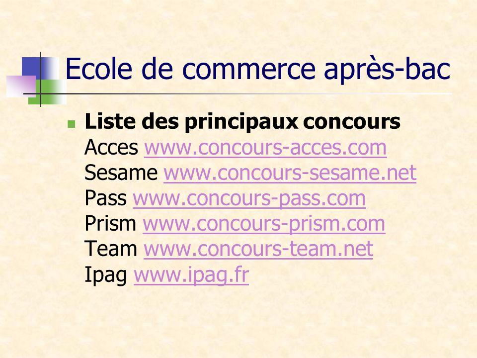 Ecole de commerce après-bac Liste des principaux concours Acces www.concours-acces.com Sesame www.concours-sesame.net Pass www.concours-pass.com Prism