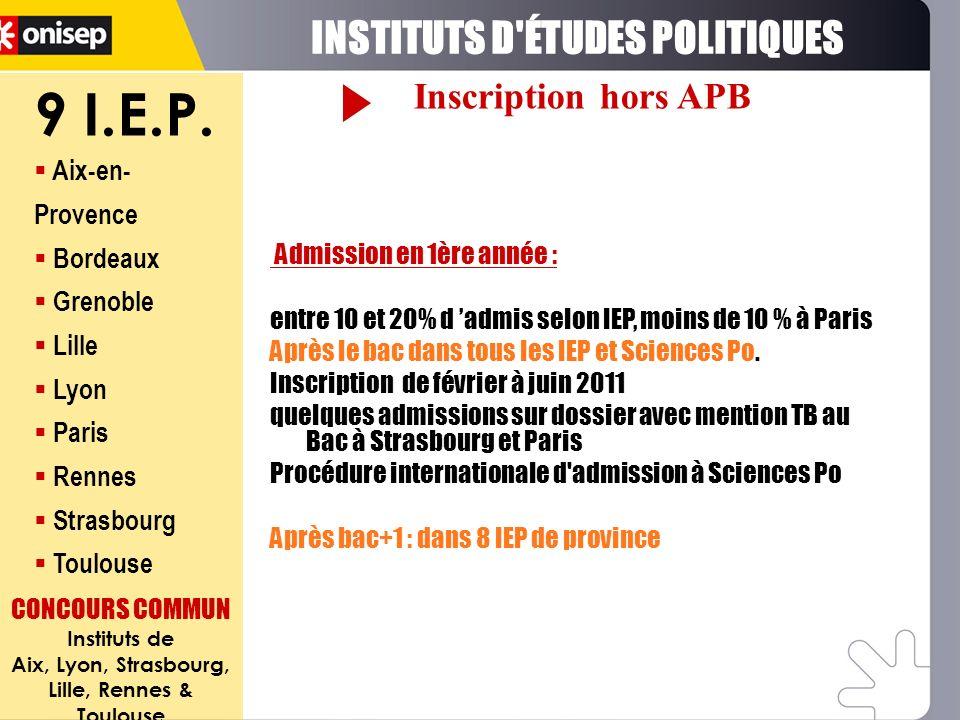 9 I.E.P. Aix-en- Provence Bordeaux Grenoble Lille Lyon Paris Rennes Strasbourg Toulouse CONCOURS COMMUN Instituts de Aix, Lyon, Strasbourg, Lille, Ren
