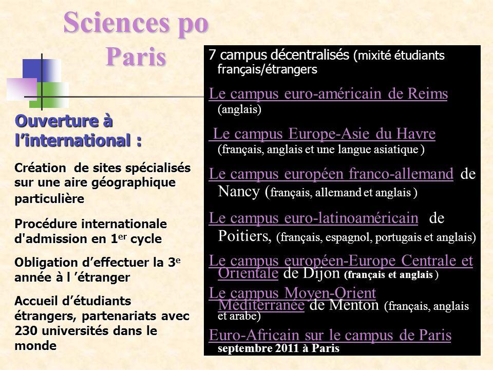 Sciences po Paris Ouverture à linternational : Création de sites spécialisés sur une aire géographique particulière Procédure internationale d'admissi