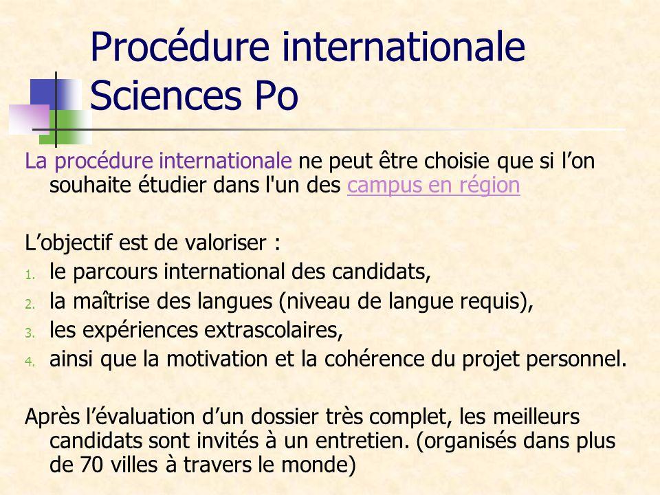 Procédure internationale Sciences Po La procédure internationale ne peut être choisie que si lon souhaite étudier dans l'un des campus en régioncampus