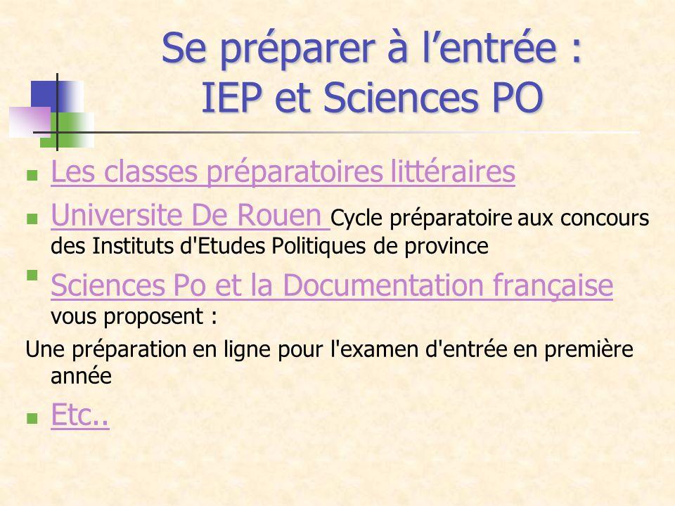 Se préparer à lentrée : IEP et Sciences PO Les classes préparatoires littéraires Universite De Rouen Cycle préparatoire aux concours des Instituts d'E