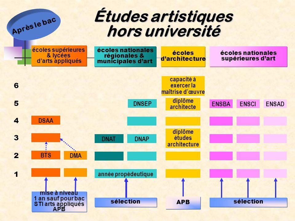 Études artistiques hors université 1 2 6 5 4 3 DSAA BTS DMA mise à niveau 1 an sauf pour bac STI arts appliqués APB mise à niveau 1 an sauf pour bac S