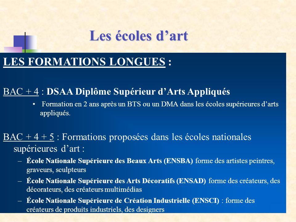 LES FORMATIONS LONGUES : BAC + 4 : DSAA Diplôme Supérieur dArts Appliqués Formation en 2 ans après un BTS ou un DMA dans les écoles supérieures darts