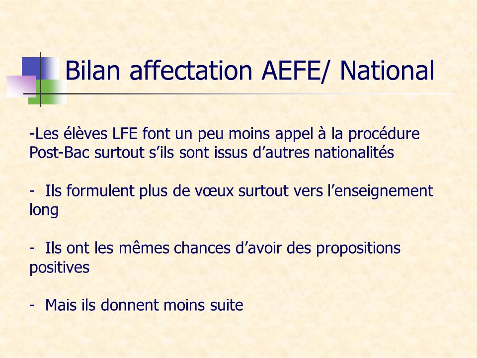 Bilan affectation AEFE/ National -Les élèves LFE font un peu moins appel à la procédure Post-Bac surtout sils sont issus dautres nationalités - Ils fo