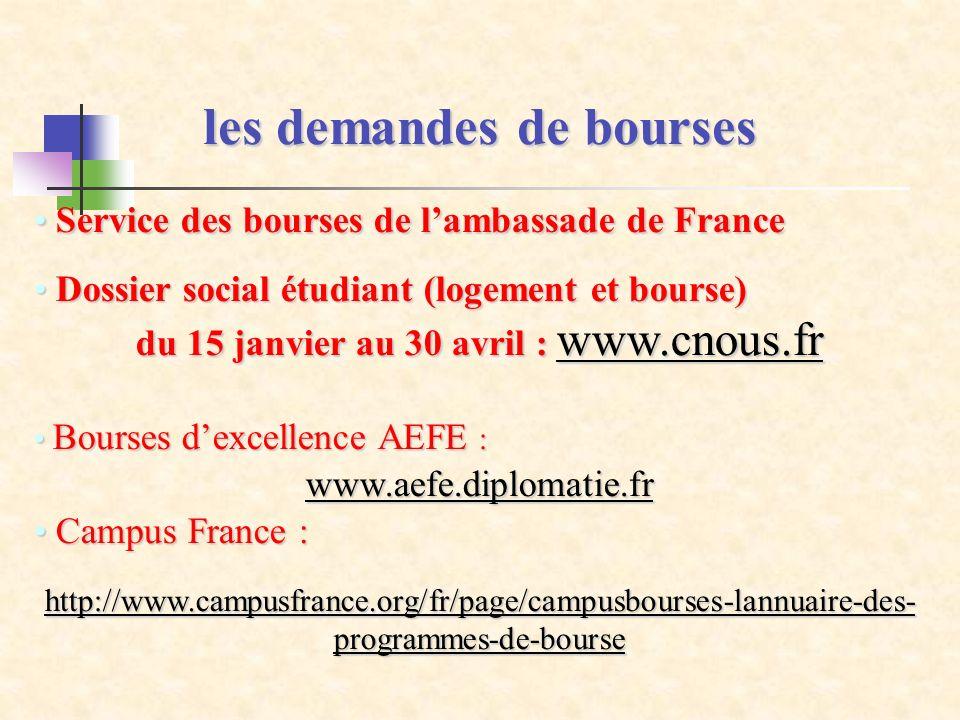 les demandes de bourses Service des bourses de lambassade de France Service des bourses de lambassade de France Dossier social étudiant (logement et b
