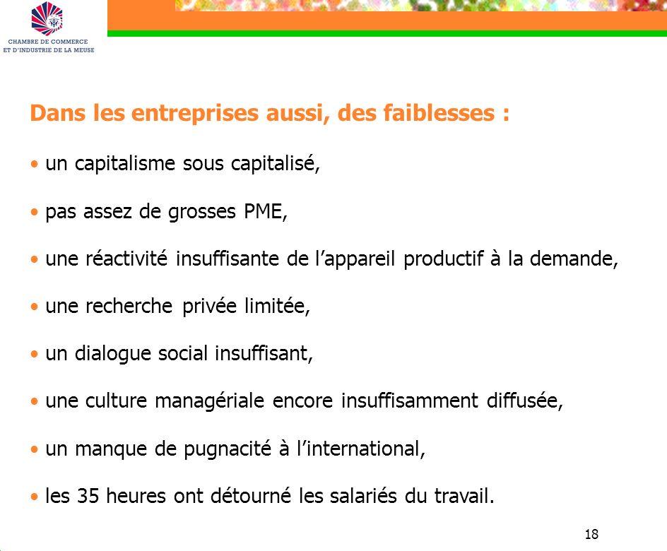 18 Dans les entreprises aussi, des faiblesses : un capitalisme sous capitalisé, pas assez de grosses PME, une réactivité insuffisante de lappareil pro