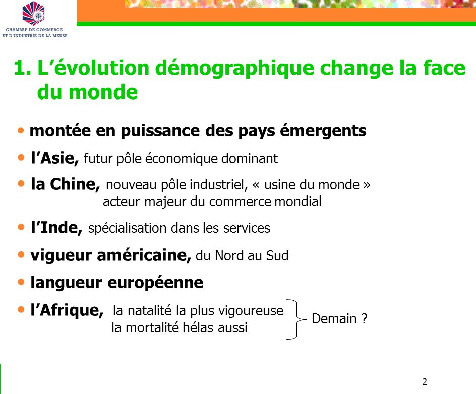 2 1.Lévolution démographique change la face du monde montée en puissance des pays émergents lAsie, futur pôle économique dominant la Chine, nouveau pô