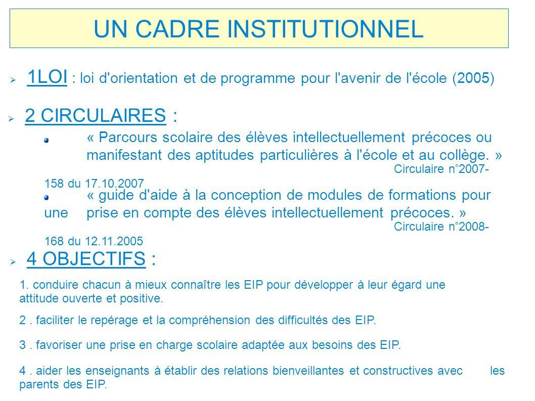UN CADRE INSTITUTIONNEL 1LOI : loi d'orientation et de programme pour l'avenir de l'école (2005) « Parcours scolaire des élèves intellectuellement pré