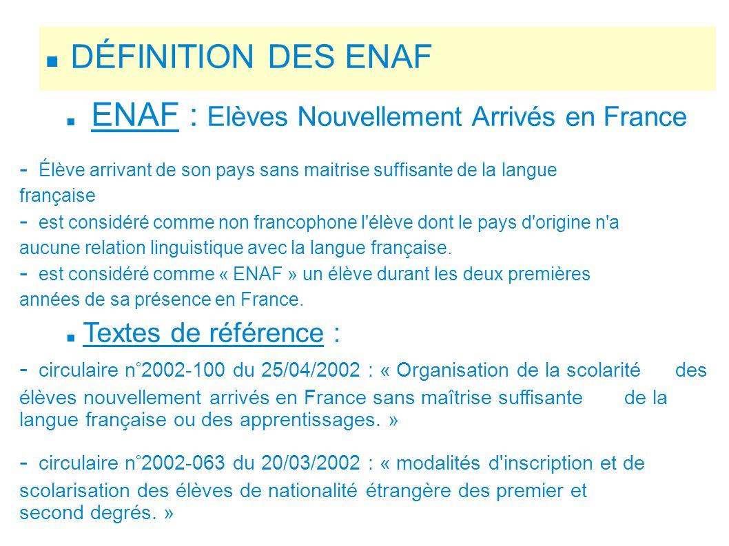 DÉFINITION DES ENAF ENAF : Elèves Nouvellement Arrivés en France - Élève arrivant de son pays sans maitrise suffisante de la langue française - est co