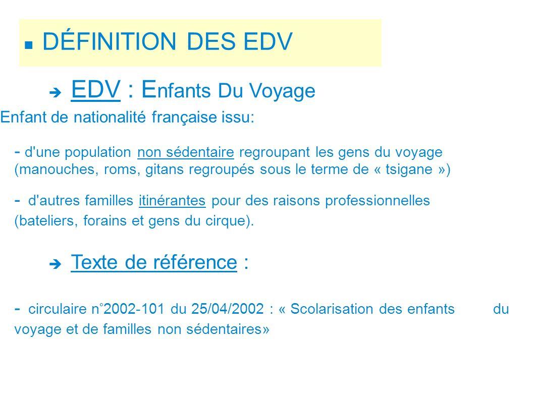 DÉFINITION DES EDV EDV : E nfants Du Voyage Enfant de nationalité française issu: - d'une population non sédentaire regroupant les gens du voyage (man