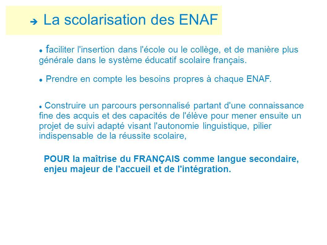 La scolarisation des ENAF f aciliter l'insertion dans l'école ou le collège, et de manière plus générale dans le système éducatif scolaire français. P
