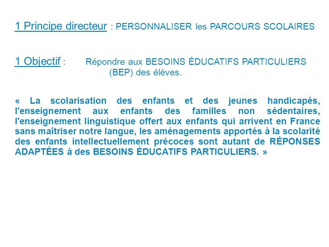 « La scolarisation des enfants et des jeunes handicapés, l'enseignement aux enfants des familles non sédentaires, l'enseignement linguistique offert a
