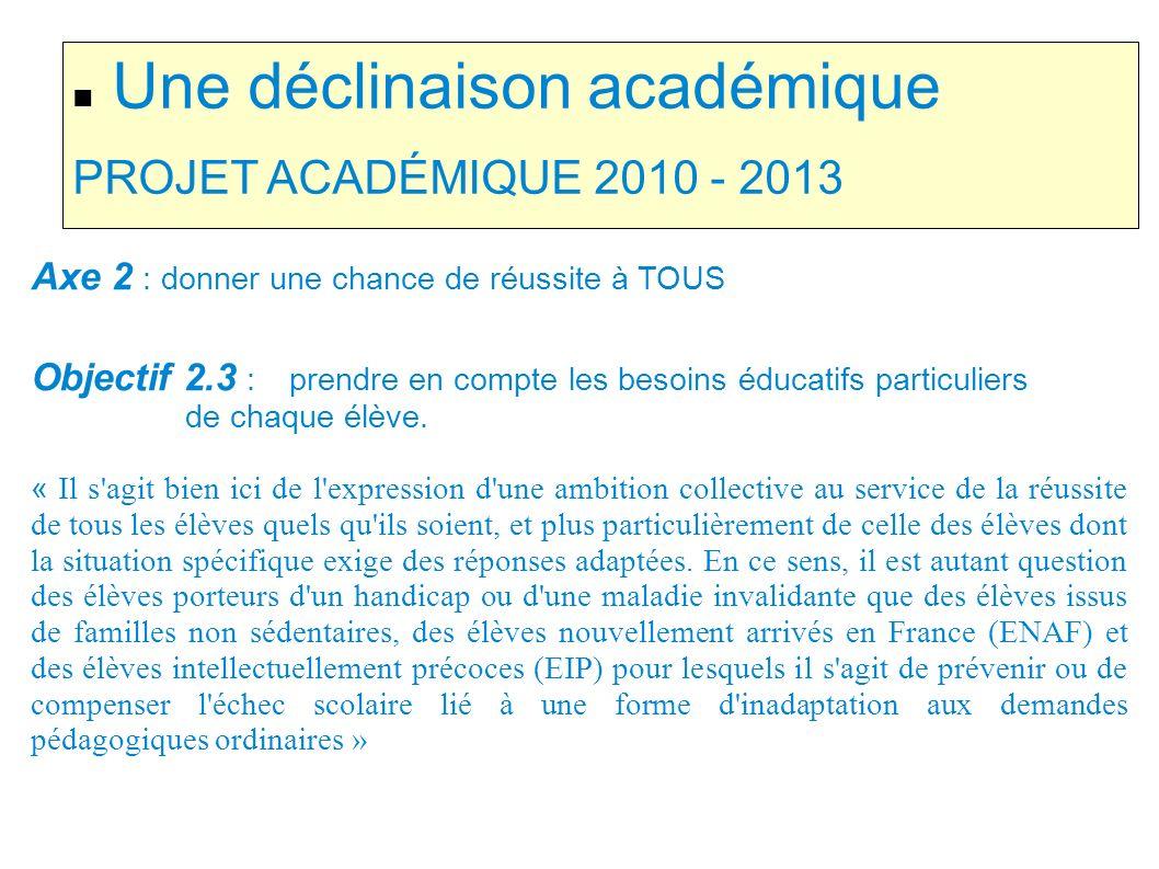 Une déclinaison académique PROJET ACADÉMIQUE 2010 - 2013 Axe 2 : donner une chance de réussite à TOUS Objectif 2.3 : prendre en compte les besoins édu
