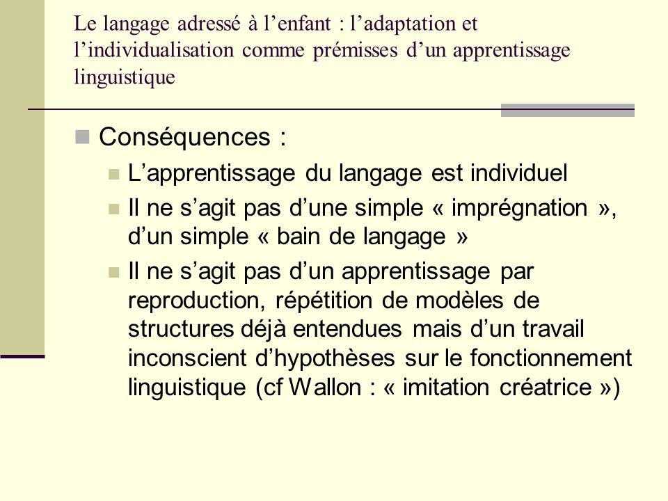 Le langage adressé à lenfant : ladaptation et lindividualisation comme prémisses dun apprentissage linguistique Conséquences : Lapprentissage du langa