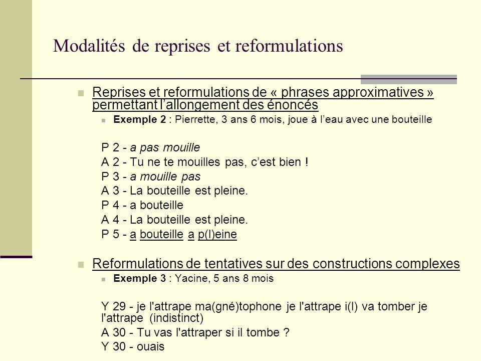 Modalités de reprises et reformulations Reprises et reformulations de « phrases approximatives » permettant lallongement des énoncés Exemple 2 : Pierr