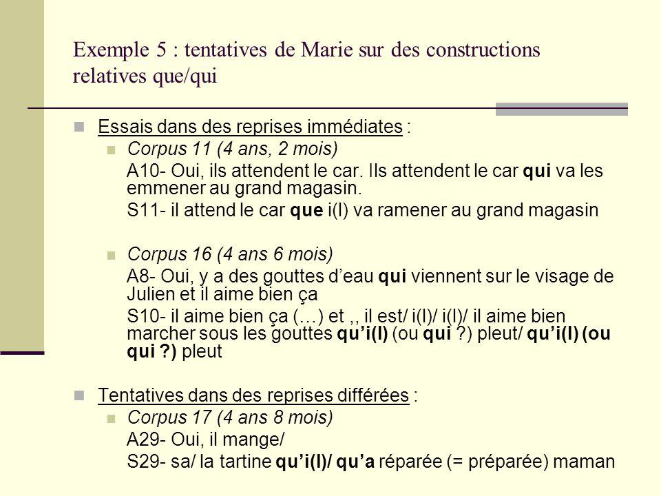 Exemple 5 : tentatives de Marie sur des constructions relatives que/qui Essais dans des reprises immédiates : Corpus 11 (4 ans, 2 mois) A10- Oui, ils