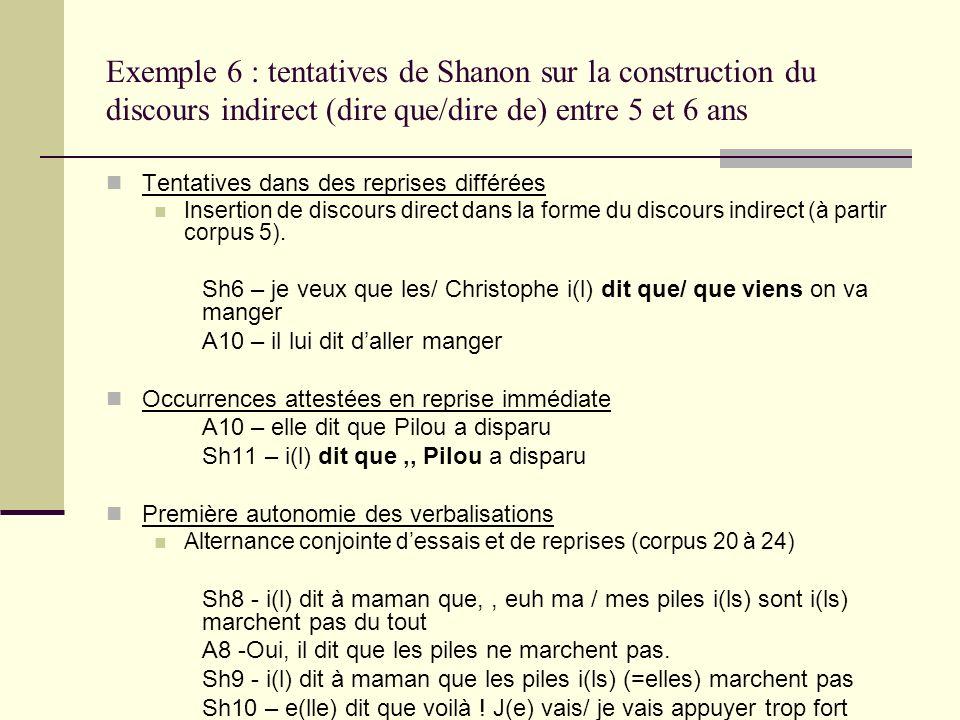 Exemple 6 : tentatives de Shanon sur la construction du discours indirect (dire que/dire de) entre 5 et 6 ans Tentatives dans des reprises différées I